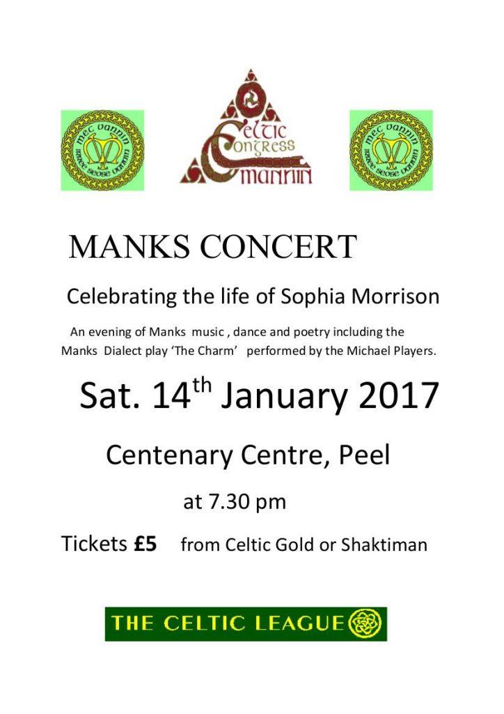 Manks Concert Celebrating the life of Sophia Morrison @ Centenary Centre   Isle of Man