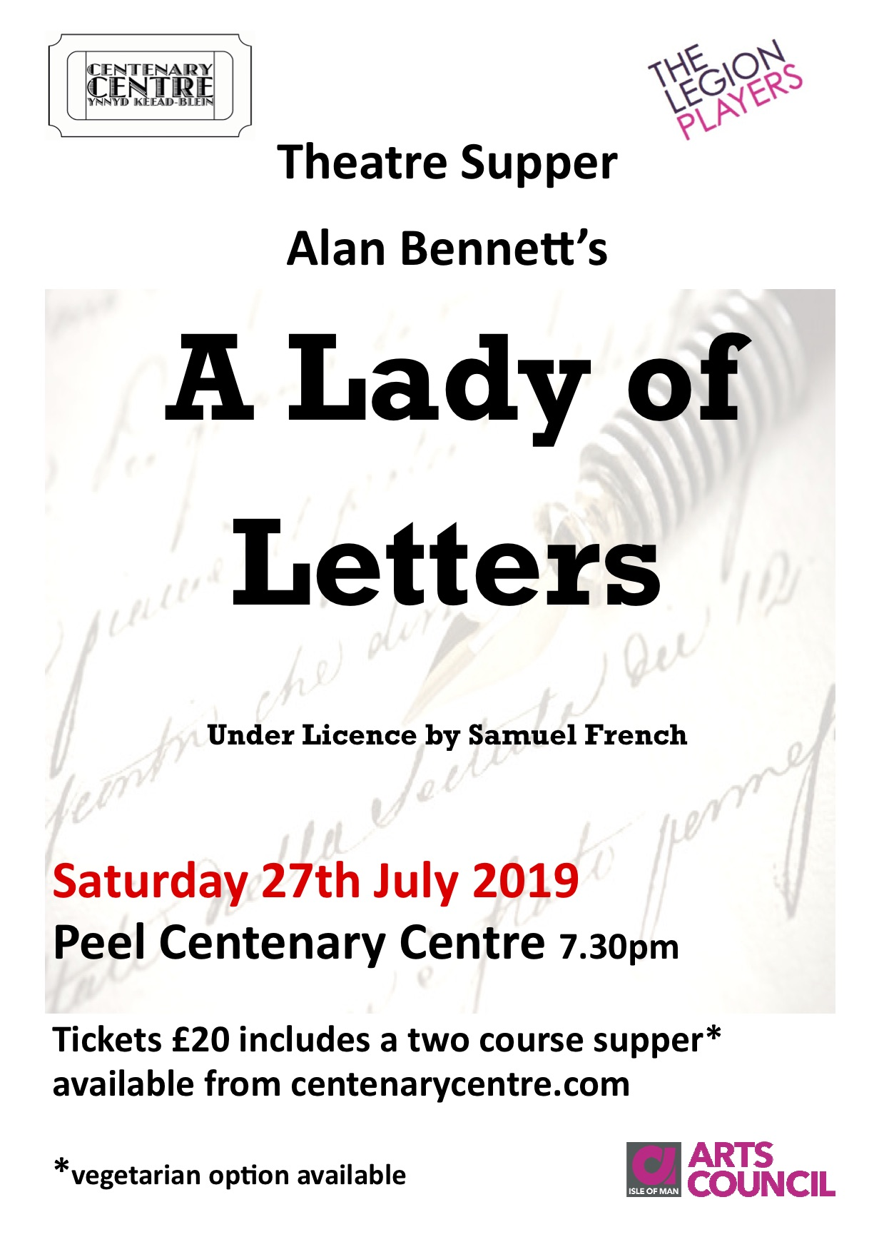 Theatre Supper - A Lady of Letters @ Peel Centenary Centre